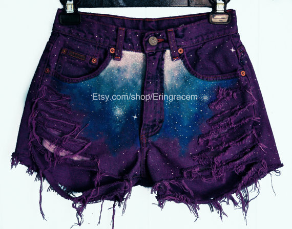 Custom purple distressed galaxy shorts(read description before asking questions)