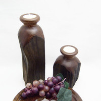 Tea Light Candle Holders - Redwood Fence Post  - Rustic Candle Holders