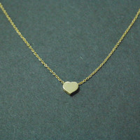 Back to Basic, Simple Heart Pendant, Gold Vermeil Charm, Gold Plated Chain, Necklace