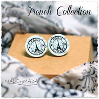 Eiffel tower Post Earrings Paris studs, ecru gray  Gift for her under 15