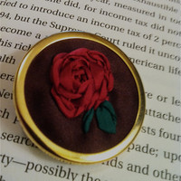 Embroidered Silk Ribbon Rose Brooch/Pin  by BeanTownEmbroidery