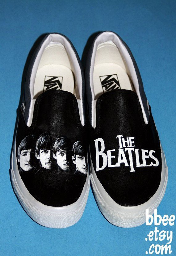 MADE TO ORDER Any Size Black and White Beatles Shoes by BBEE