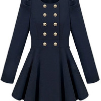 ROMWE | Double-breasted Skirt Hem Design Blue Trench-coat, The Latest Street Fashion