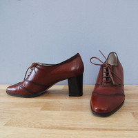 vintage lace up OXFORDS russet w/ heel 5.5