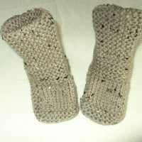 Brown Tweed Baby Booties.FREE SHIPPING