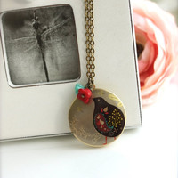 ON SALE An Altered Art Locket of Partridge Colorful Bird USA Handmade Image Photo Brass Locket Necklace. Holiday Theme. Unique Gift. Christ