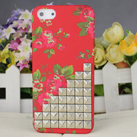 Red Flower Hard Case Cover With Silvery Stud for Apple iPhone5 Case, iPhone 5 Cover,iPhone 5 Case, iPhone 5g