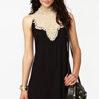 Tied Crochet Dress - Black