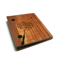 Wooden Scrapbook Album - Holds Standard 8.5x11 Pages - Photo Album Woodburnt