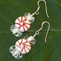 Christmas Candy Peppermint Lampwork Sterling Earrings Handmade Red