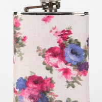 Floral Fabric Wrapped Flask