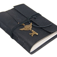 Black Vegan Faux Leather Journal with Winged Key Clock Bookmark