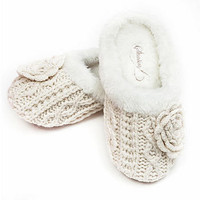 winter bloom chunky knit mule slippers by stasia | notonthehighstreet.com
