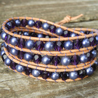 Beaded Leather 3 Wrap Bracelet with Purple Pearl Czech Glass Beads on Natural Tan Leather