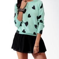 Ditsy Heart Raglan Sweater