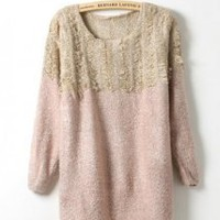 Pink Long Sleeve Sweater with Tassel - Designer Shoes|Bqueenshoes.com