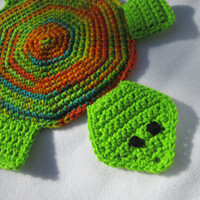 Turtle Hot Pad Crocheted Bright Green and Orange