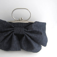 Large Bow Clutch with Handle denim by thezakka on Etsy