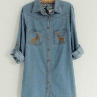 X'Max Deer Denim Blouse - Designer Shoes|Bqueenshoes.com