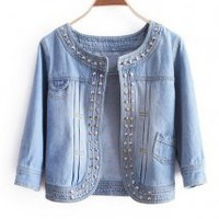 Slim Round Neck Leisure Rivet Denim Jacket - Designer Shoes|Bqueenshoes.com