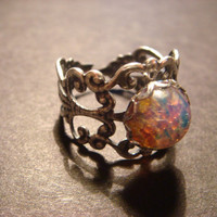Fire Opal Antique Silver Filigree Ring- Adjustable (608)