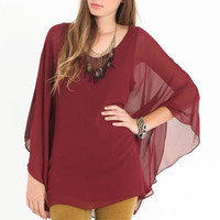 Serena Burgundy Dolman Top - &amp;#36;44.00 : ThreadSence.com, Your Spot For Indie Clothing &amp; Indie Urban Culture