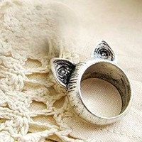 Silver Cat Ears Retro Ring ANY SIZE