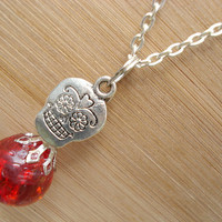 Sugar Skull Red Glass Fried Marble Charm Chain Necklace
