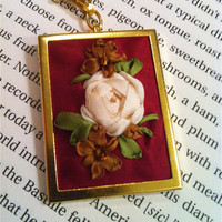 Hand Embroidered Silk Ribbon Rose Pendant by BeanTownEmbroidery