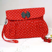 Christmas gift for her red polkadot clutch purse with bow shaped wooden button