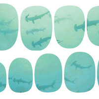 Blue Ombre School of Sharks Nail Decal Set