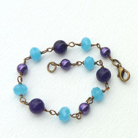 Plus Size Purple and Aqua Bracelet.
