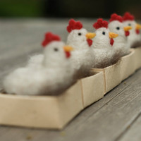 Needle Felted Chicken - Hen with Egg