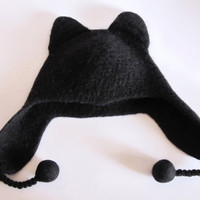 Handmade winter hat for women. 100% wool cat beanie.