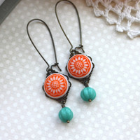 An Orange Star Sunflower Glass Cab, Turquoise Green Melon Antiqued Brass Dangle Earrings. Summer. Gifts for Her.