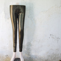 Dark Gold Leggings, Metallic Womens Tights