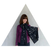 Sagittarius Rising - winter fashion - unisex scarf - zodiac constellation screenprint on heather black jersey scarves