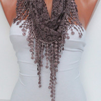 Mink Color Lace Scarf- Shawl Headband - Cowl with Lace Edge