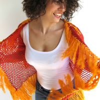 Cotton Cardigan with Fringe in Orange Red and Amber Colors