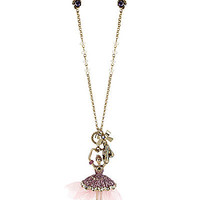 BetseyJohnson.com - BALLERINA PENDANT NECKLACE PURPLE