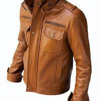 New Men's Brown Bomber Leather Jacket