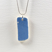 Sky Bue English Beach Pottery Necklace Pendant Sterling Silver