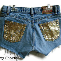 Glitter Pocket Shorts High Waisted Custom Order Any Size Made to Order