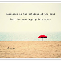 Happiness Quote, Beach landscape photography print, 8x10 Aristotle, philosopher