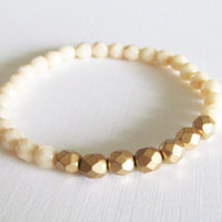 Sale 10% -  Gold / Ivory Beaded Bracelet, Gift for Her, Item B-62B