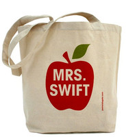 Teacher Apple - Personalized - Canvas Tote Bag - Classic Shopper - FREE SHIPPING