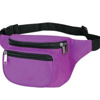 3-Zipper Fanny Pack, Adjustable polyweb waist belt