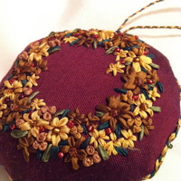 Embroidered Christmas Wreath Ornament  Silk by BeanTownEmbroidery