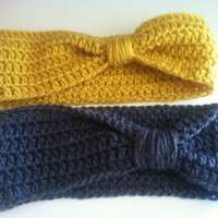 2 crochet headwarmers mustard yellow and charcoal gray