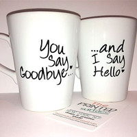 Latte mug couple set of 2 mugs set- &quot;Hello Goodbye&quot; set perfect couple gift wedding gift, housewarming Gift